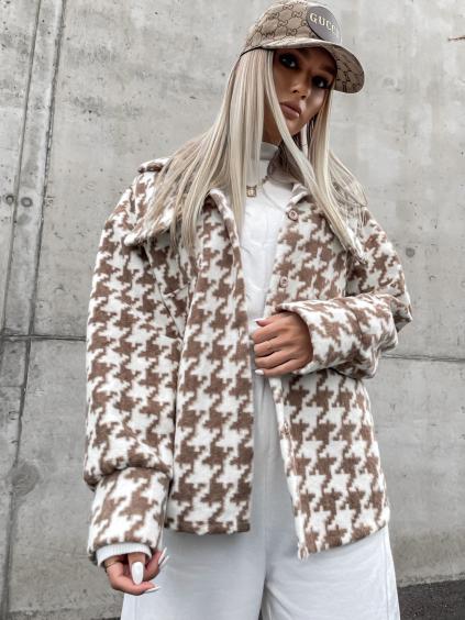 Hnědý vzorovaný kabátek KEY na knoflíky