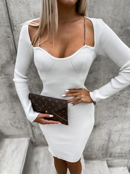 Bílé žebrované šaty LAUD se štrasem