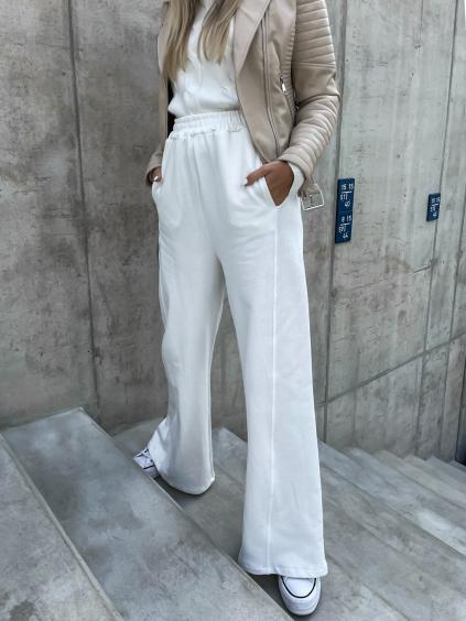 Bílé teplákové kalhoty GOAL s rozšířenými nohavicemi