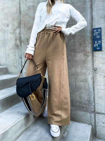 Hnědé teplákové kalhoty GOAL s rozšířenými nohavicemi