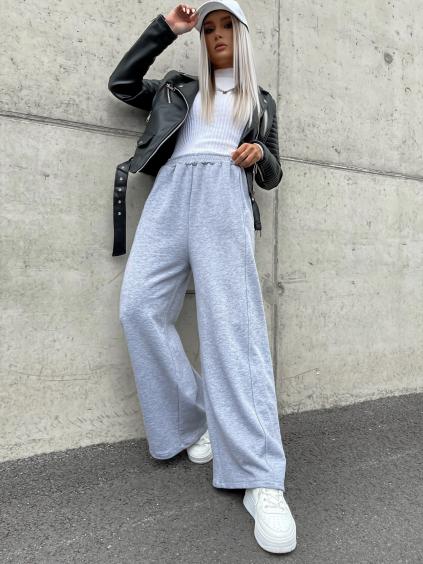 Šedé teplákové kalhoty GOAL s rozšířenými nohavicemi