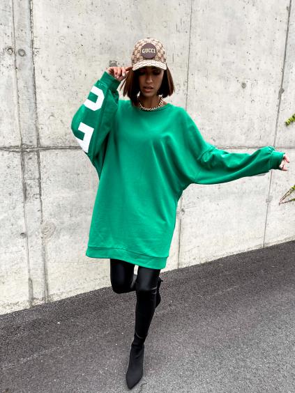Zelená oversize mikina BUFFA s nápisem