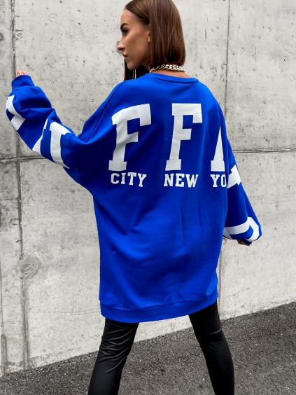Královsky modrá oversize mikina BUFFA s nápisem
