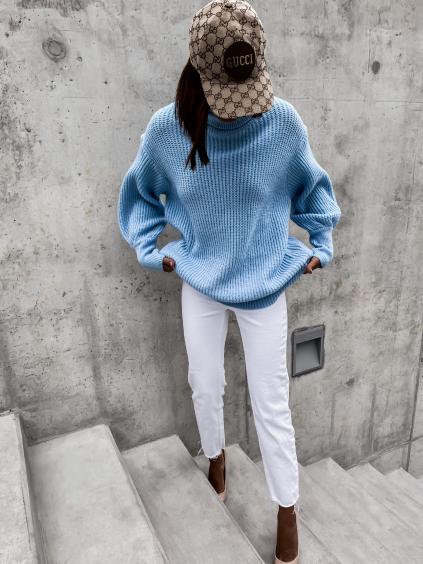Světle modrý pletený svetr STAR s rolákem