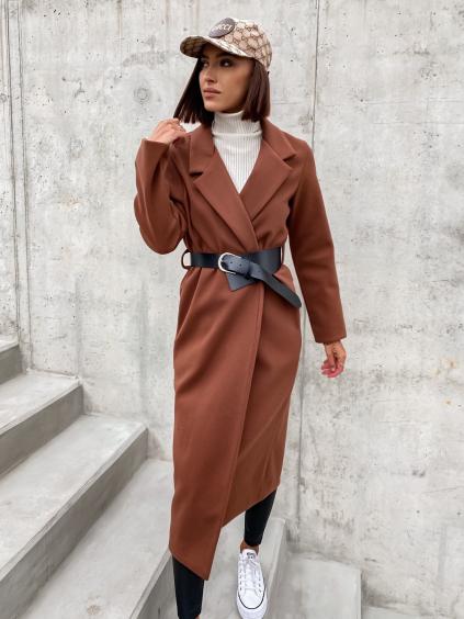 Tmavě hnědý delší kabát FEAT s asymetrickým páskem