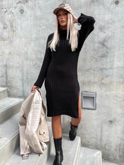 Černé svetrové šaty RELISH s rozparky