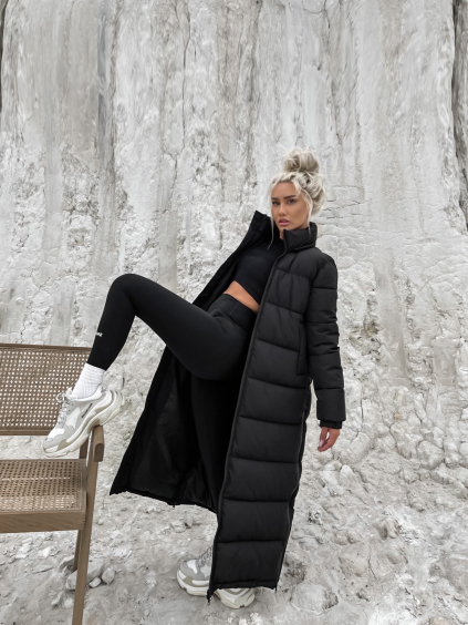 Černá maxi bunda INSPIRE