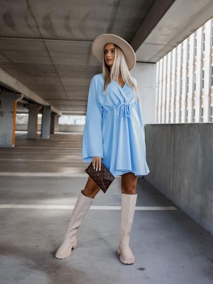 Světle modré šaty EXCITE s dlouhými rukávy