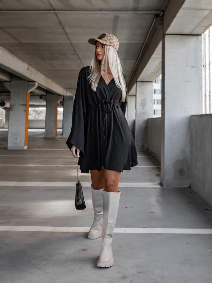 Černé šaty EXCITE s dlouhými rukávy
