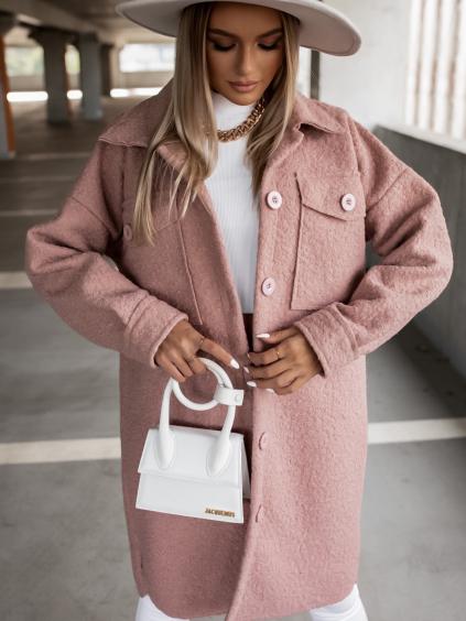 Starorůžový oversize kabát RESULT na knoflíky