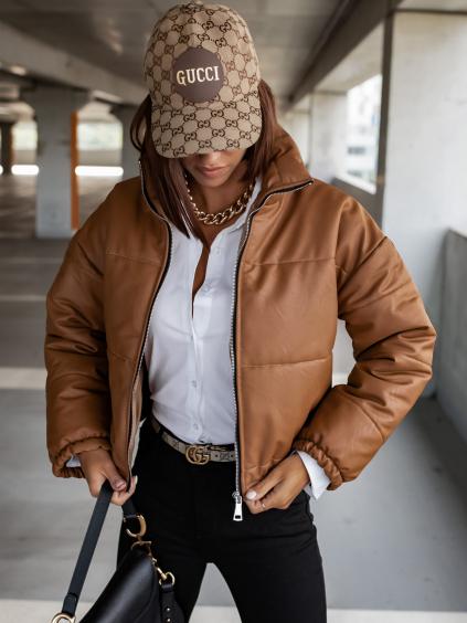 Světle hnědá koženková kratší bunda CLAIM