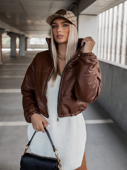 Tmavě hnědá koženková kratší bunda CLAIM