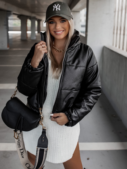 Černá koženková kratší bunda CLAIM