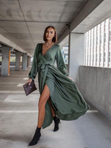 Khaki elegantní šaty WOMAN s dlouhým rukávem