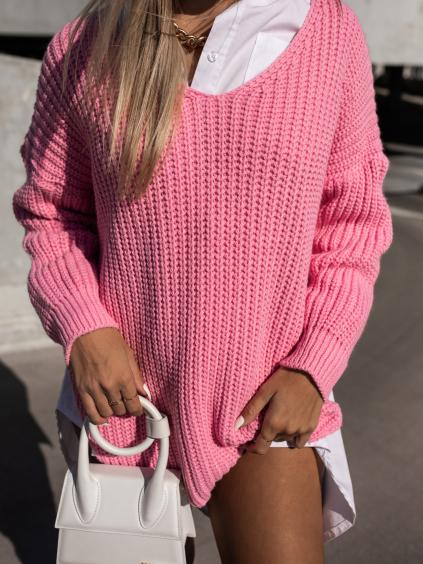 Růžový pletený svetr DANGER