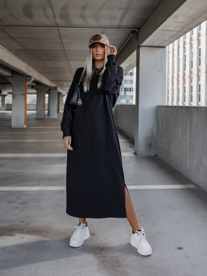 Černé dlouhé mikinové šaty INTEREST s kapucí