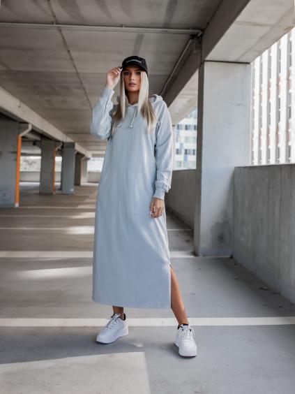 Světle šedé dlouhé mikinové šaty INTEREST s kapucí