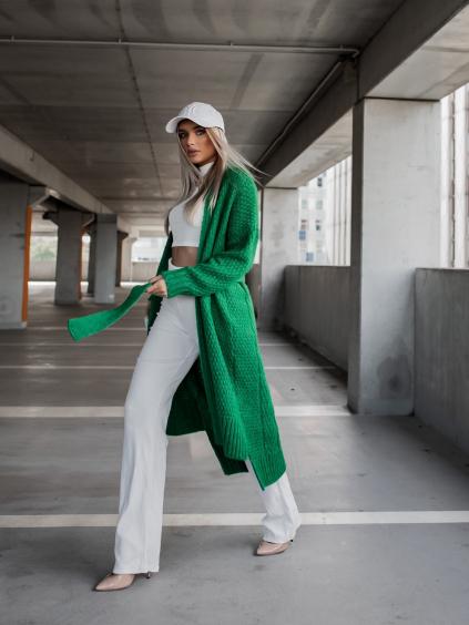 Zelený pletený cardigan FLAWLESSLY se zavazováním v pase