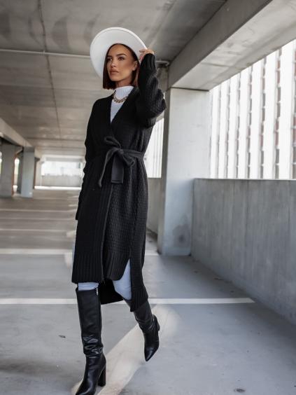 Černý pletený cardigan FLAWLESSLY se zavazováním v pase