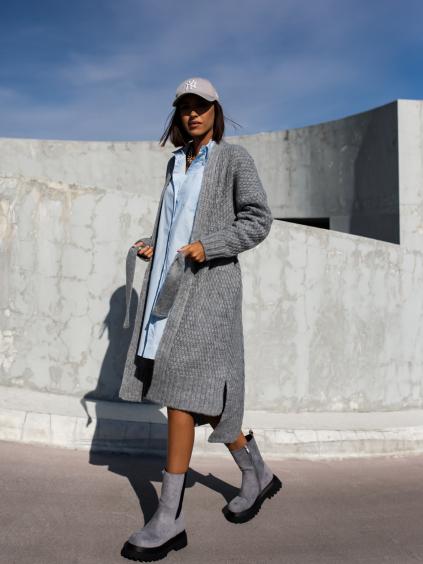 Tmavě šedý pletený cardigan FLAWLESSLY se zavazováním v pase