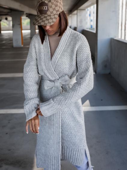Světle šedý pletený cardigan FLAWLESSLY se zavazováním v pase