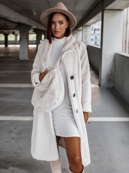 Krémový hebký kabát FRESHES s kabelkou