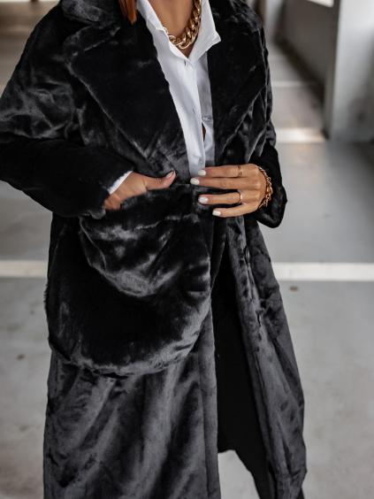 Černý hebký kabát FRESHES s kabelkou
