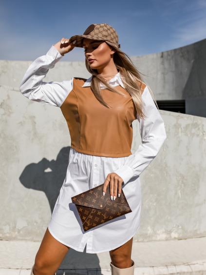 Bílo hnědé košilové šaty NICKY s koženkovou vestičkou
