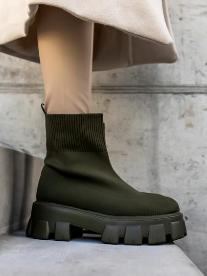 Khaki kotníkové boty WILLY s vysokou podrážkou