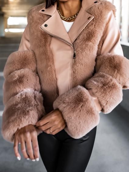 Starorůžová koženková bundička SENNA s umělou kožešinou