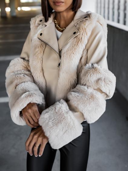 Krémová koženková bundička SENNA s umělou kožešinou