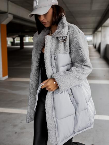 Šedá bunda PEBLES s umělým kožíškem a vázáním v pase