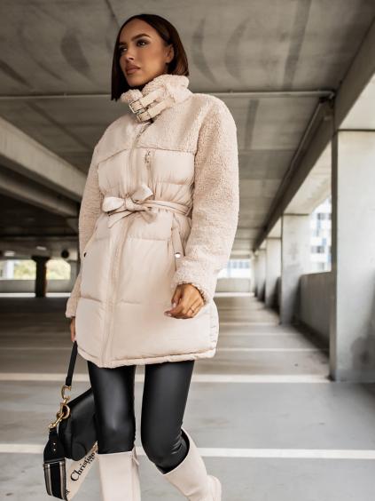 Krémová bunda PEBLES s umělým kožíškem a vázáním v pase