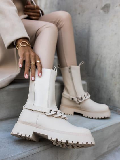 Béžové kotníkové boty YANG se zdobením