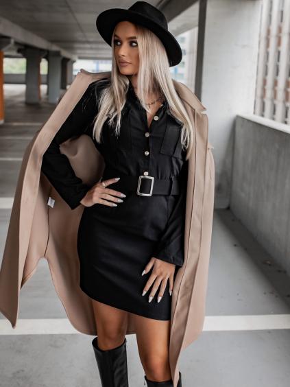 Černé šaty WING s dlouhým rukávem