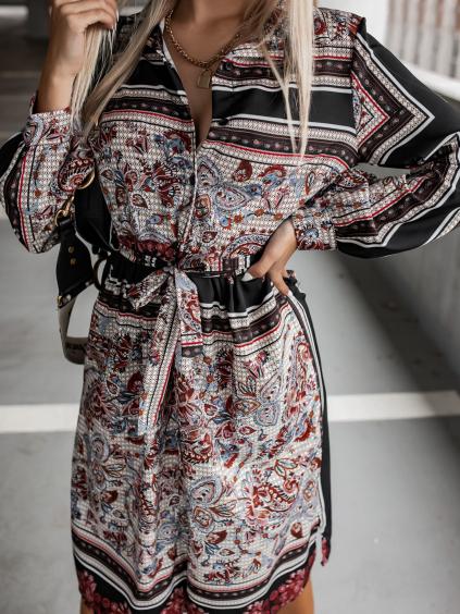 Černé vzorované šaty PATTERN s vázáním v pase