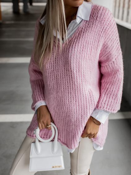 Růžový pletený svetr WEST s výstřihem