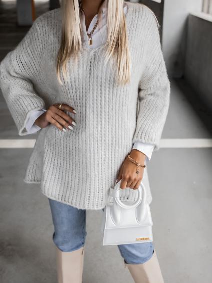 Krémový pletený svetr WEST s výstřihem