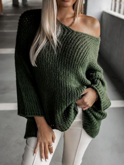 Khaki pletený svetr WEST s výstřihem