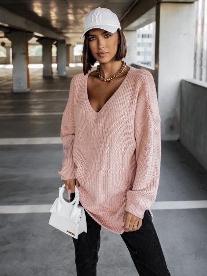 Starorůžový pletený svetr CERTAIN s výstřihem