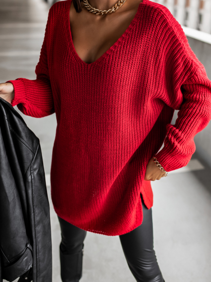 Červený pletený svetr CERTAIN s výstřihem