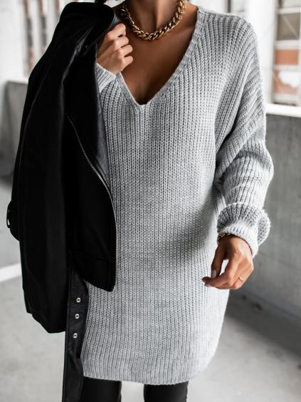 Světle šedý pletený svetr CERTAIN s výstřihem