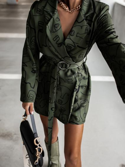 Khaki šaty/sako SHADE s opaskem
