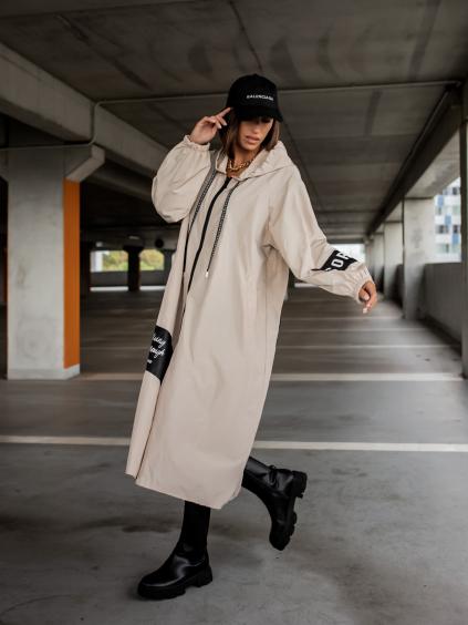 Krémová dlouhá lehká bunda SORRY s nápisy a kapucí