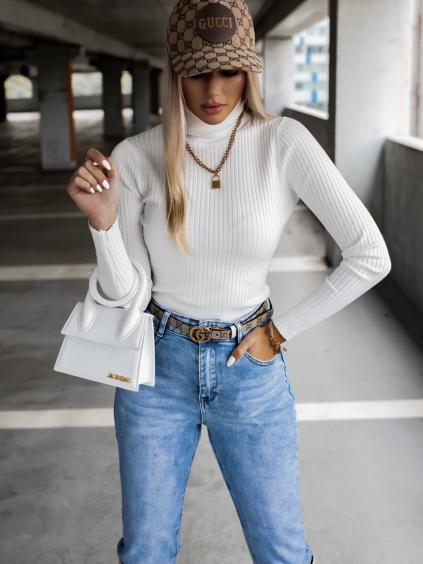 Bílý žebrovaný svetřík KEYS s roláčkem