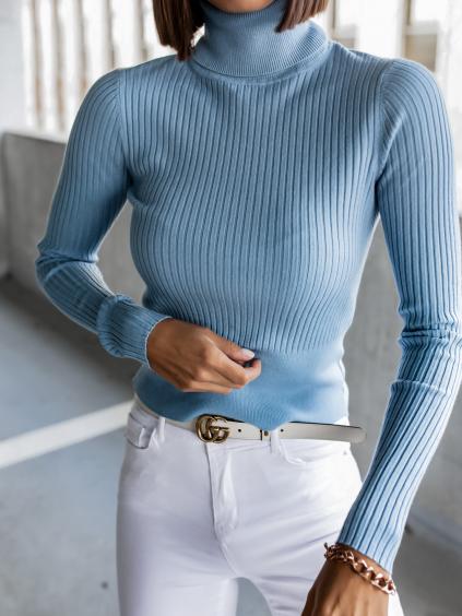 Modrý žebrovaný svetřík KEYS s roláčkem