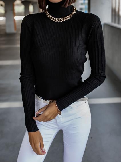 Černý žebrovaný svetřík KEYS s roláčkem