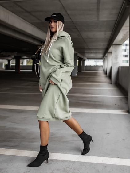 Světle zelené dlouhé mikinové šaty DARINNE s kapucí