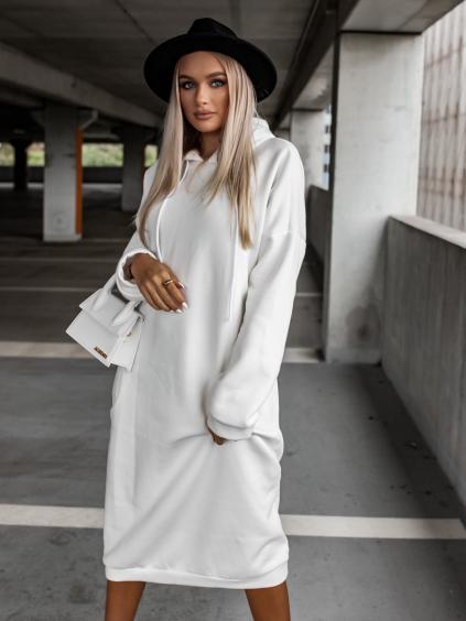 Bílé dlouhé mikinové šaty DARINNE s kapucí