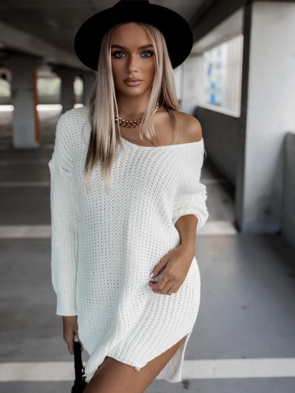 Bílý pletený svetr DANGER